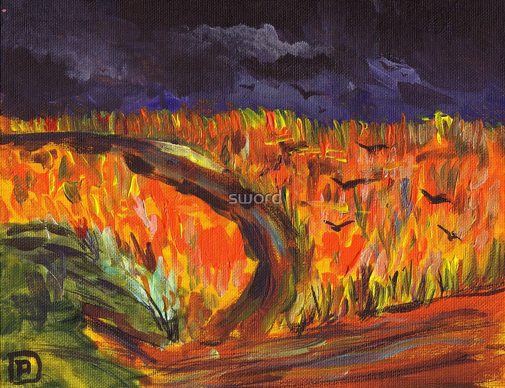 Field with crows (from my original acrylic painting) by sword