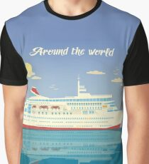 Around the World Travel Banner with Cruise Liner Graphic T-Shirt
