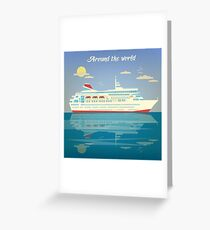 Around the World Travel Banner with Cruise Liner Greeting Card