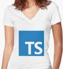 typescript Women's Fitted V-Neck T-Shirt