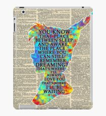Colorful Watercolor Peter Pan Over Vintage Dictionary Page - That Place iPad Case/Skin