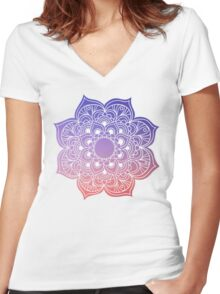 Mandala orange purple pastel Women's Fitted V-Neck T-Shirt
