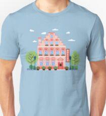 Vintage European City Hostel. Travel Industry Hotel Building Facade Unisex T-Shirt
