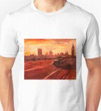 London Taxi Big Ben Sunset with Parliament Unisex T-Shirt