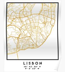 LISBON PORTUGAL CITY STREET MAP ART Poster