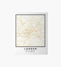 LONDON ENGLAND CITY STREET MAP ART Art Board