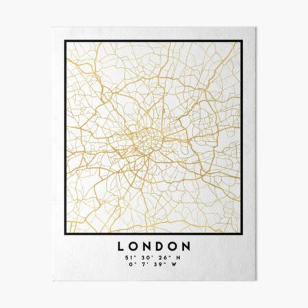 LONDON ENGLAND CITY STREET MAP ART Art Board Print