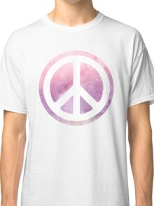 peace sign pink purple watercolor Classic T-Shirt