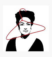Joan Crawford portrait, black with red wire hanger Photographic Print