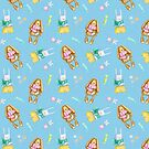 Easter bunny pattern with brown and white rabbits on blue in watercolour by Sandra O'Connor