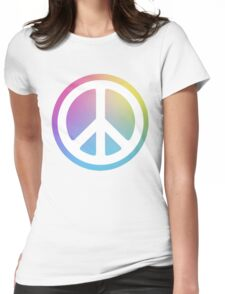 peace sign rainbow Womens Fitted T-Shirt