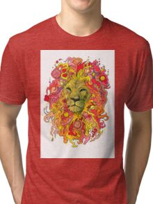 Groovy Golden Psychedelic Lion Tri-blend T-Shirt