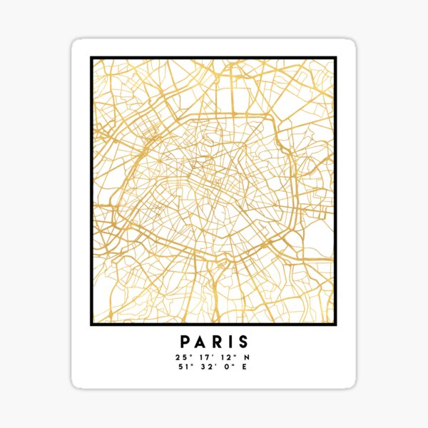 PARIS FRANCE CITY STREET MAP ART Sticker