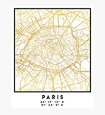 PARIS FRANCE CITY STREET MAP ART Photographic Print