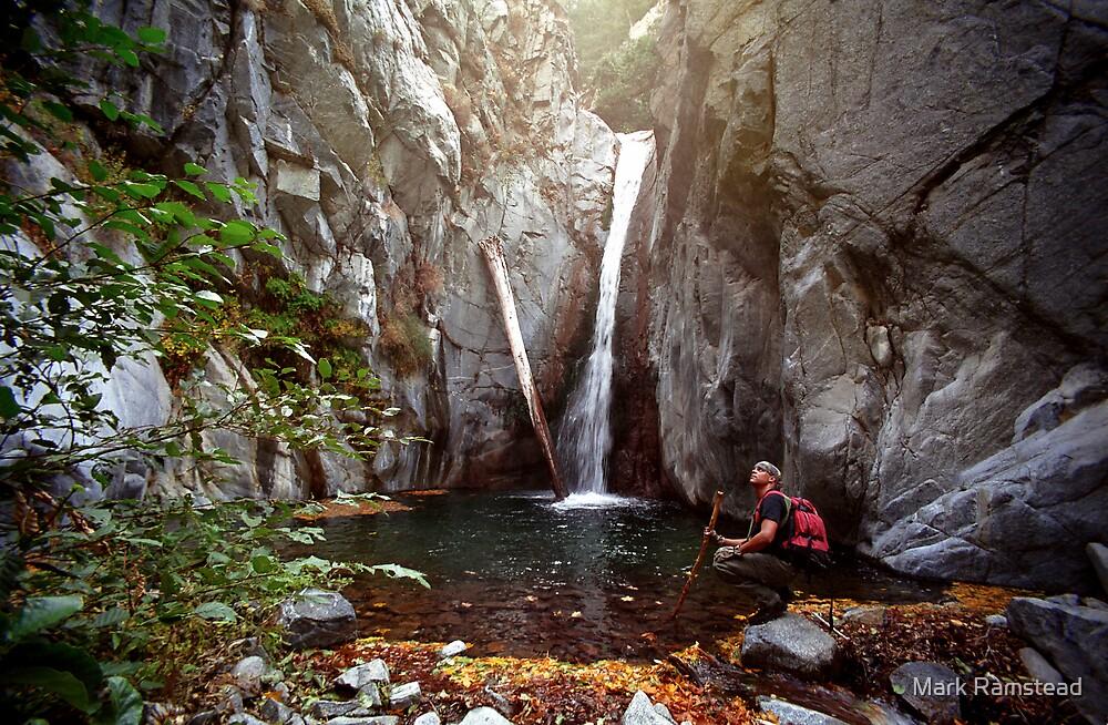 Hiker, Cucamonga Falls by Mark Ramstead
