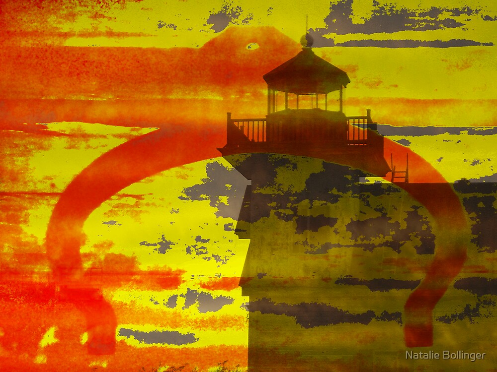 Roanoke River Lighthouse Abstract by Natalie Bollinger