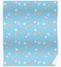 Star watercolour patten with cute stripy and spotty stars in red, yellow, green, pink with a blue background Poster