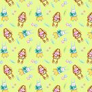 Easter bunny pattern with brown and white rabbits on yellow in watercolour by Sandra O'Connor