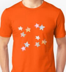 Star watercolour patten with cute stripy and spotty stars in red, yellow, green, pink  T-Shirt