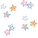 Star watercolour patten with cute stripy and spotty stars in red, yellow, green, pink  by Sandra O'Connor