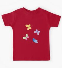 Cute little butterflies, Spring watercolour pattern in purple, yellow, green, pink and blue  Kids Clothes