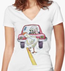 Chicken Dance Women's Fitted V-Neck T-Shirt