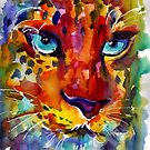 Wildlife Expressionist Watercolor Leopard painting Svetlana Novikova by Svetlana  Novikova