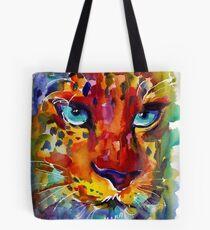Wildlife Expressionist Watercolor Leopard painting Svetlana Novikova Tote Bag
