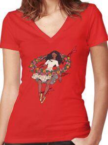 -Slyvan ring- Women's Fitted V-Neck T-Shirt
