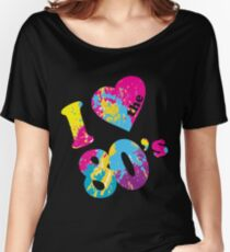I love 80s Scoop Neck T-shirt Black