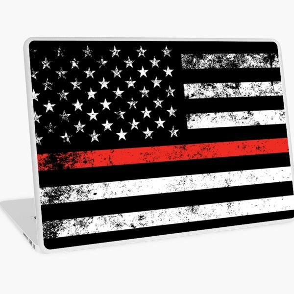 Distressed Firefighter Style American Flag Laptop Skin