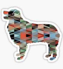 Australian Shepherd Dog Breed Geometric Silhouette Plaid Sticker