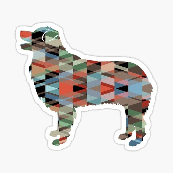 Australian Shepherd Dog Breed Geometric Silhouette Plaid Sticker
