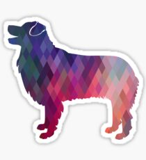 Australian Shepherd Dog Breed Geometric Silhouette Pink Sticker