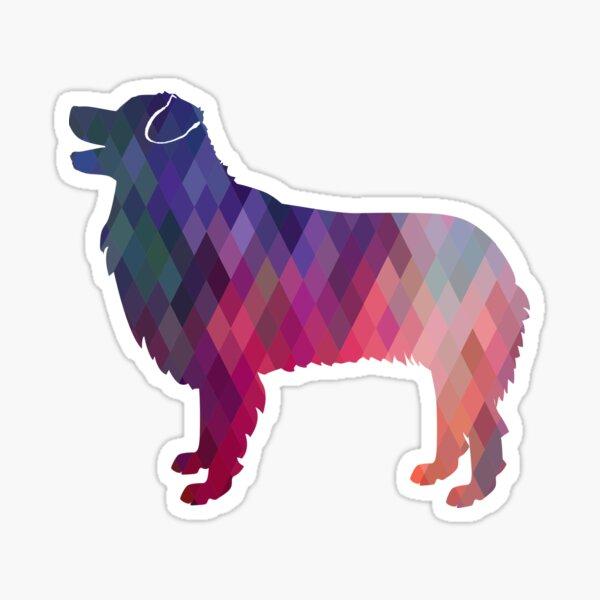 Australian Shepherd Dog Breed Geometric Silhouette Pink Sticker