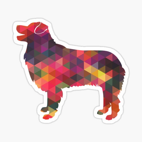 Australian Shepherd Dog Breed Geometric Silhouette Multi Sticker