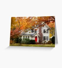 Autumn with a red door Greeting Card