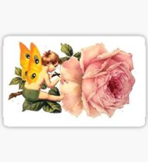 fairy painting roses Sticker