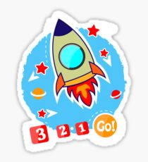 Images for printing. Rocket and stars. Sticker