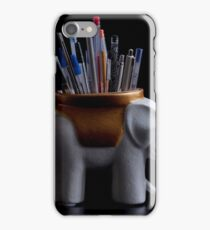 Elephant holder pencils and pens still life iPhone Case/Skin