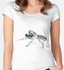 Cosmic Blue Tongued Lizard Women's Fitted Scoop T-Shirt