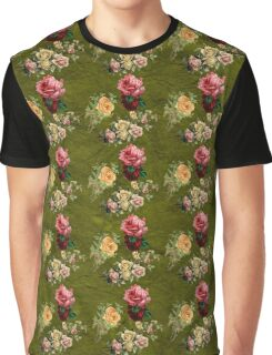 Vintage Flowers Green  Graphic T-Shirt