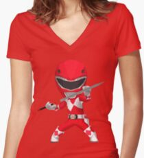 Chibi Red Women's Fitted V-Neck T-Shirt
