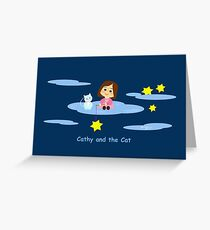 Cathy and the Cat with Stars Greeting Card