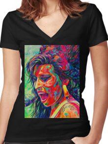 Amy Winehouse Portrait Pop Art Gemälde  Women's Fitted V-Neck T-Shirt