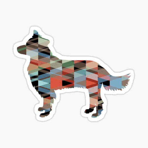 Border Collie Dog Breed Geometric Pattern Silhouette Plaid Sticker