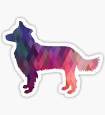 Border Collie Dog Breed Geometric Pattern Silhouette Pink Sticker