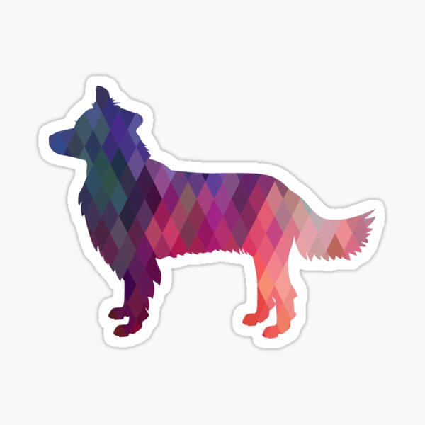 Border Collie Dog Breed Geometric Pattern Silhouette Pink Sticker