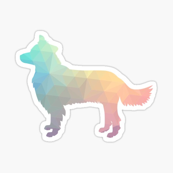 Border Collie Dog Breed Geometric Pattern Silhouette Pastel Sticker