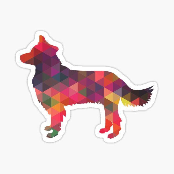 Border Collie Dog Breed Geometric Pattern Silhouette Multi Sticker